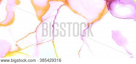 Watercolor Smooth Background. Abstract Liquid Painting. Alcohol Ink Pattern. Color Art Stains. Pink