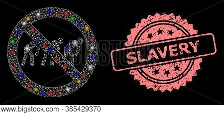 Glare Mesh Web Forbidden Slavery With Glowing Spots, And Slavery Rubber Rosette Stamp Seal. Illumina