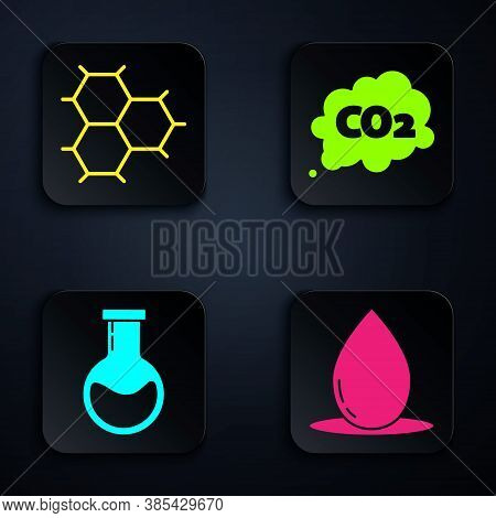 Set Oil Drop, Chemical Formula Consisting Of Benzene Rings, Test Tube And Flask And Co2 Emissions In