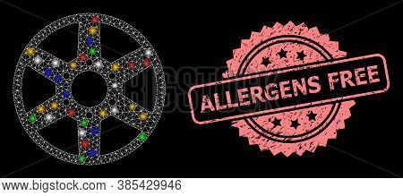 Shiny Mesh Network Wheel With Lightspots, And Allergens Free Unclean Rosette Seal Imitation. Illumin