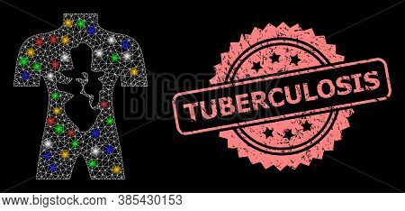 Bright Mesh Network Human Anatomy With Bright Dots, And Tuberculosis Textured Rosette Watermark. Ill