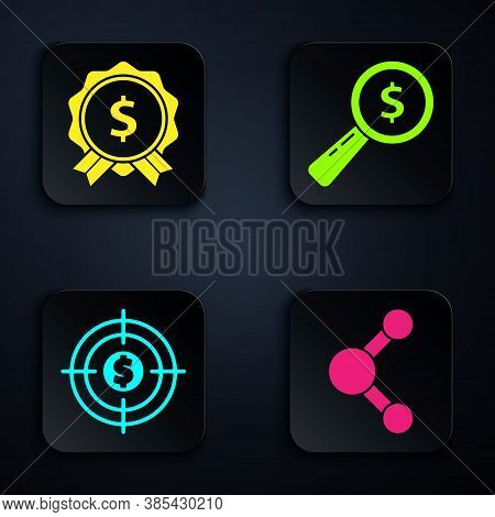 Set Share, Price Tag With Dollar, Target With Dollar And Magnifying Glass And Dollar. Black Square B