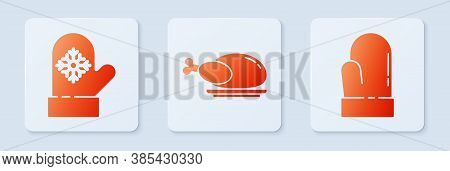 Set Roasted Turkey Or Chicken, Christmas Mitten And Christmas Mitten. White Square Button. Vector