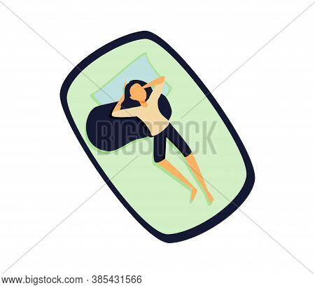 Dream In A Hot Summer Night. Young Woman Sleeping In Bed Without A Blanket. Female Cartoon Character