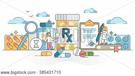 Rx As Medication Pills Prescription For Treatment From Doctor Outline Concept. Drugs, Capsule Or Ant