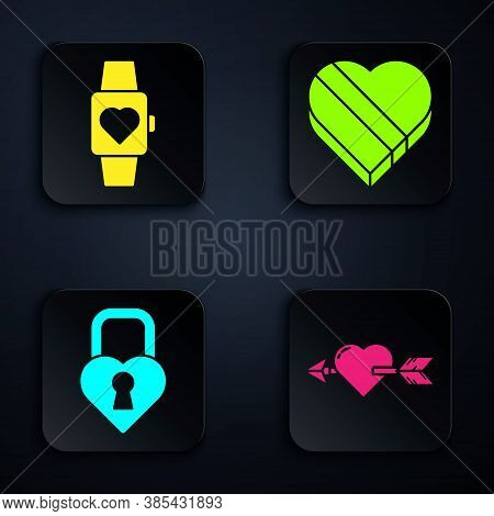 Set Amour With Heart And Arrow, Heart In The Center Wrist Watch, Castle In The Shape Of A Heart And