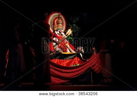 CHENNAI, INDIA - SEPTEMBER 9: Indian traditional dance drama Kathakali preformance on September 9, 2009 in Chennai, India. Performer portrays monkey king Bali (thadi) character in Ramayana drama