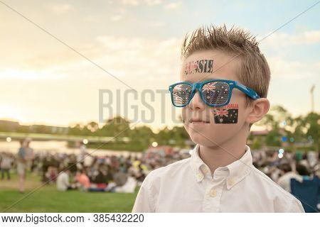 Proud Australian Boy Celebrating Australia Day In Adelaide City