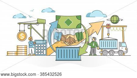 Trade Global Business Market With Sales And Cargo Shipping Outline Concept. Export And Import Purcha