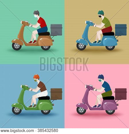 Young Guy Rides A Scooter, Set Of Vintage Scooters With Boxes For Food Delivery Isolated On A Backgr