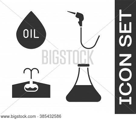 Set Oil Petrol Test Tube, Oil Drop, Oilfield And Gasoline Pump Nozzle Icon. Vector