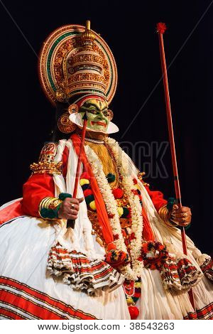 CHENNAI, INDIA - SEPTEMBER 8: Indian traditional dance drama Kathakali preformance on September 8, 2009 in Chennai, India. Performer plays Arjuna (pacha) character