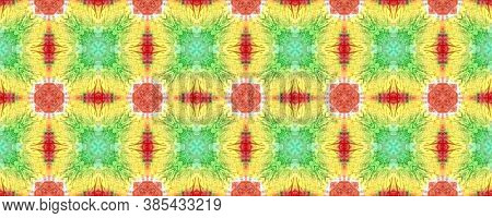 Tie Dye Background. Colorful Natural Ethnic Illustration. Asian Backdrop.  Blue, Yellow, Red And Gre