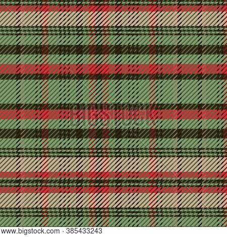 Cute Christmas Plaid Vector Seamless Pattern. Checkered Scottish Flannel Print For Celtic Home Decor