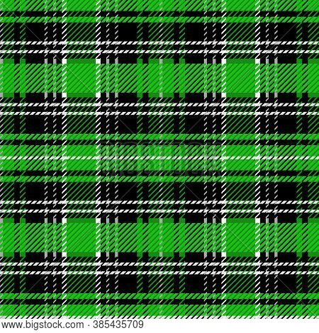 Cute Green Purple Plaid Vector Seamless Pattern. Checkered Scottish Flannel Print For Celtic Home De