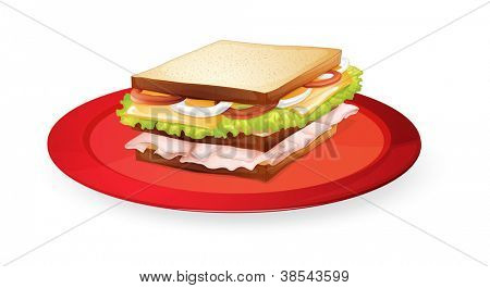 illustration of a bread sandwich in red dish on white