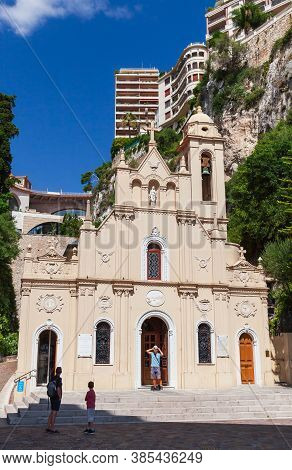 Monte Carlo, Monaco - August 15, 2018: Sainte-devote Chapel, It Is A Roman Catholic Chapel Dedicated