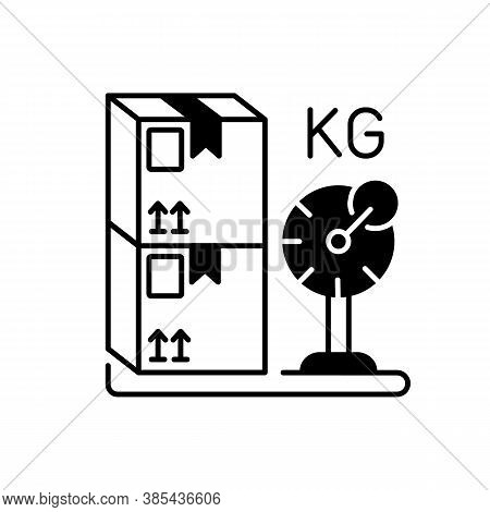 Cargo Weight Black Linear Icon. Postal Service, Freight Transportation Outline Symbol On White Space