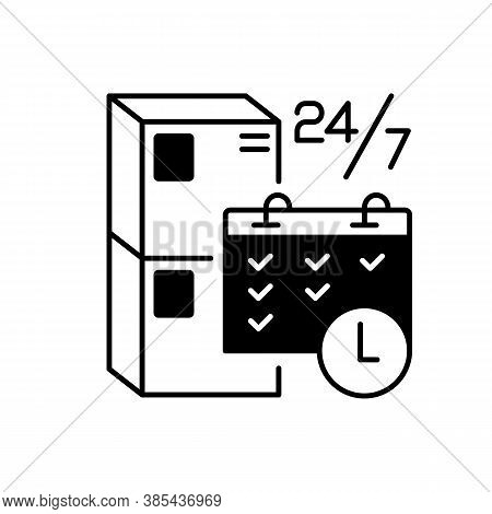 Schedule Package Pickup Black Linear Icon. Mail Service Organization, Postal Logistics Outline Symbo