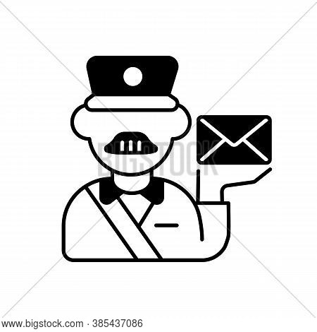 Postman Black Linear Icon. Professional Mailman, Mail Deliverer. Postal Service, Courier Delivery Ou
