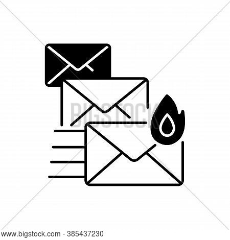 Priority Mail Black Linear Icon. Express Mail Delivery, Fast Postal Service Outline Symbol On White