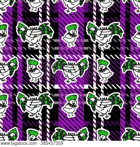 Cute Punk Chick And Chicken On Plaid Background Vector Pattern. Grungy Alternative Checkered Home De