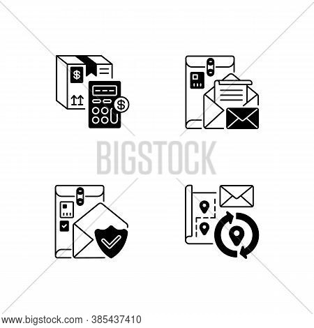 Mail Black Linear Icons Set. Calculating Cargo Price, Cargo Insurance, Address Change And Postbox Gl