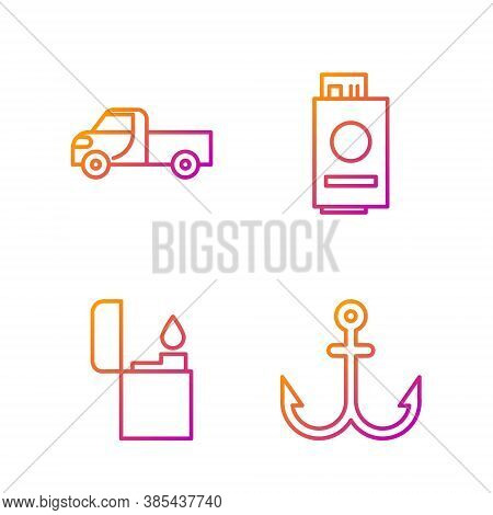 Set Line Anchor, Lighter, Pickup Truck And Passport With Ticket. Gradient Color Icons. Vector