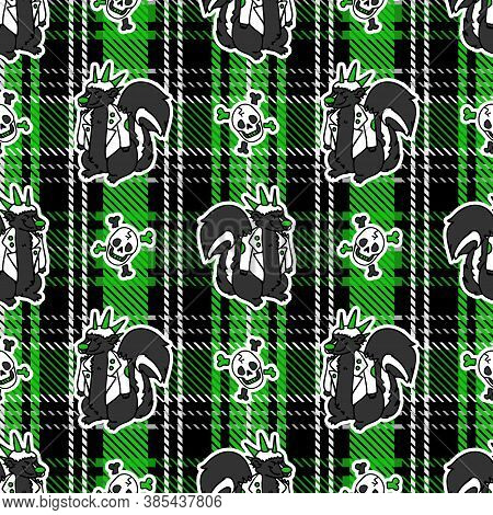 Cute Punk Skunk With Skull On Plaid Background Vector Pattern. Grungy Alternative Checkered Home Dec
