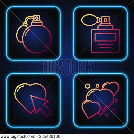 Set Line Heart, Heart And Cursor Click, Perfume And Perfume. Gradient Color Icons. Vector