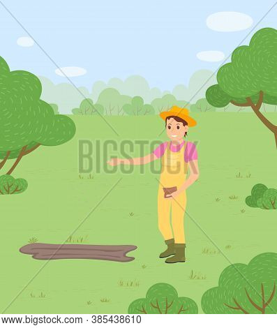 The Farmer Sowing The Seeds For The Future Harvest. Woman Agricultural Worker Wearing Coveralls And