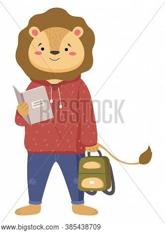 A Smart Lion Schoolboy Holding Exercise Book And Backpack Standing Full Length Isolated On White Bac