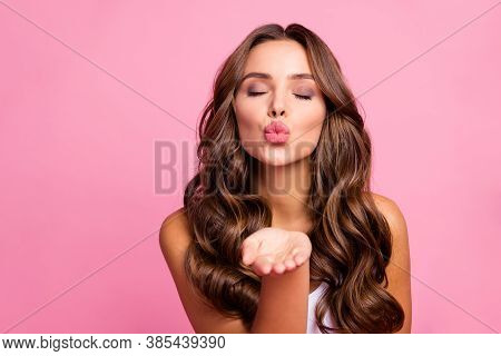 Just For You Photo Of Pretty Attractive Curly Lady Send Air Kisses Open Palm Flirting Boyfriend Temp