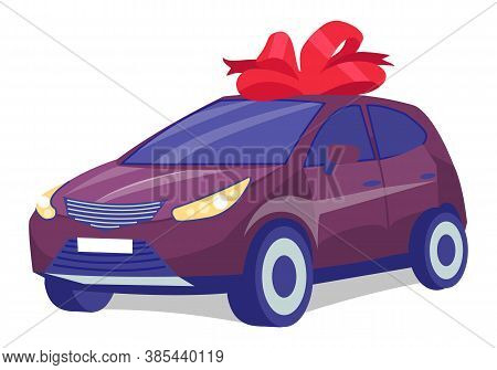 Cherry Color Car On White Background. Business Sedan With Red Gift Bow-knot. Automobile Front View F