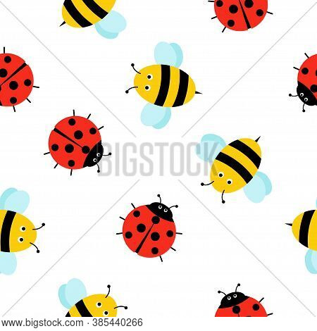 Seamless Pattern With Cute Insects. Bee, Ladybug Cartoon Style