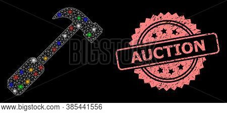 Shiny Mesh Network Hammer With Light Dots, And Auction Grunge Rosette Stamp Seal. Illuminated Vector