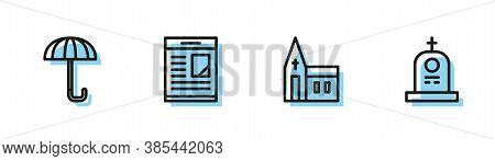 Set Line Church Building, Umbrella, Obituaries And Grave With Tombstone Icon. Vector