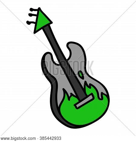 Punk Rock Guitar Vector Illustration Clipart. Simple Alternative Sticker. Kids Emo Rocker Cute Hand