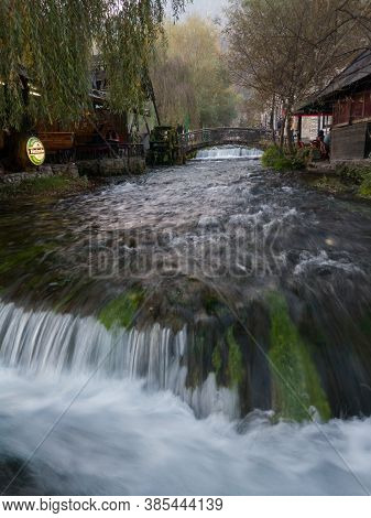 Travnik, Bosnia And Herzegovina - October 26, 2019: Plava Voda Stream With Cascades In Travnik In Au