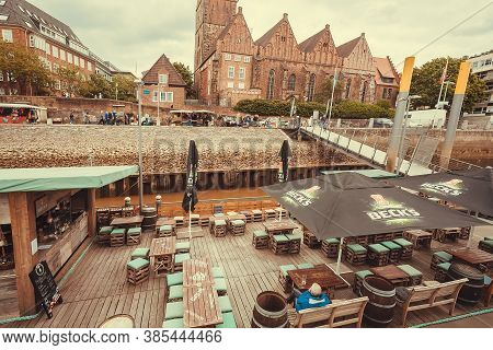 Bremen, Germany: Riverboat With Beer Bars On Banks Of The Old Town On 25 May, 2019. The Bremen City