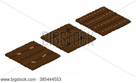 Different Types Of Seeds On The Beds. Crop. Isometry. Isolated Garden Beds On A White Background. Ve