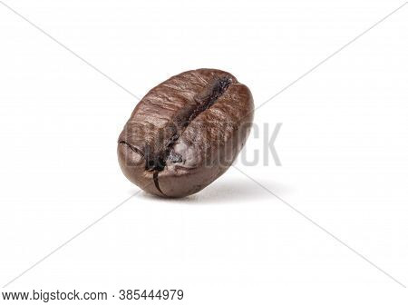 Single Fresh Roasted Dark Brown Arabica Coffee Beans Isolated On A White Background With Clipping Pa
