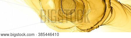 Watercolour Composition. Alcohol Ink Wallpaper. Multilayer Composition. Gold White Watercolour Compo