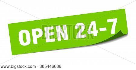 Open 24 7 Sticker. Open 24 7 Square Sign. Green Peeler