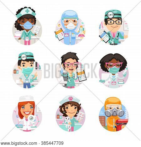 Set Of Avatars With Doctors With Different Specializations. Biohazard Cargo Transporter, Beautician,