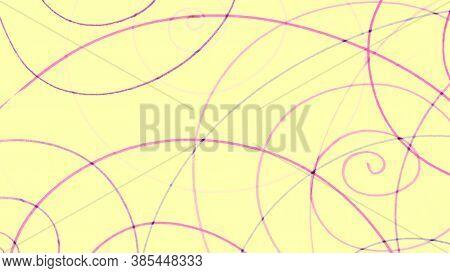 Yellow Pencil Hatching. Pastel Random Paint Illustration. Modern Kids Texture. Pink Scribble Banner.