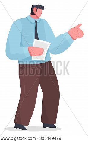 Artoon Male Serious Character Standing With Paper Or Document, Points Or Punishes With His Hand. Wav