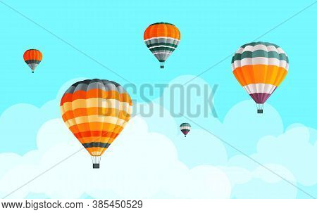 Air Balloons Collection At Blue Sky With Clouds Background, Fly Aerial Transport, Hot Air Balloon Ic