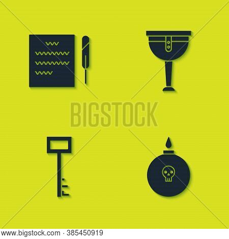 Set Feather Pen And Scroll, Bomb Ready To Explode, Pirate Key And Wooden Pirate Leg Icon. Vector