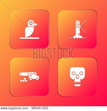 Set Pirate Parrot, Lighthouse, Cannon With Cannonballs And Skull Icon. Vector